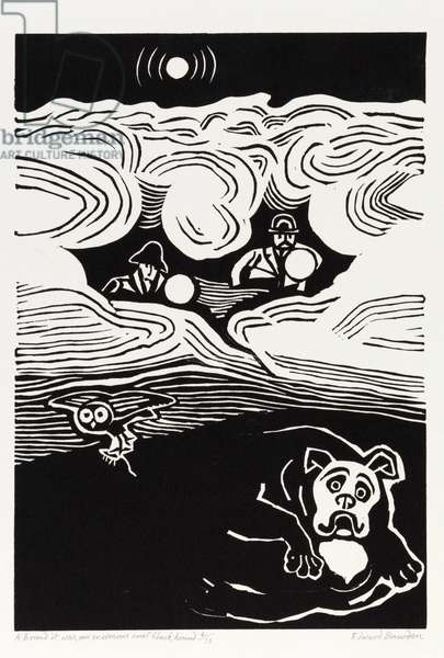 Hound of the Baskervilles, 1987 (linocut)