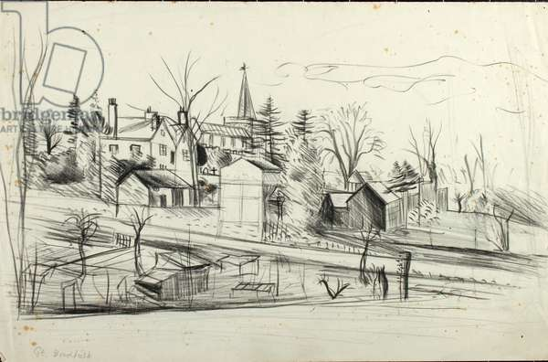 Great Bardfield View (pencil on paper)
