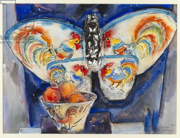 Fruit Bowl and Butterfly Kite, 1988 (w/c on paper)