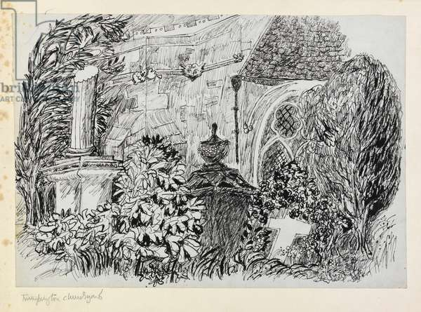 Trumpington Churchyard, from the series Cambridgeshire Subjects (pen & ink on paper)