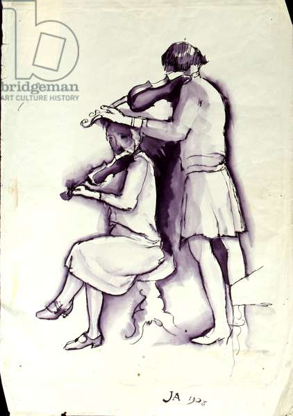 Lady with Violin and Girl with Viola, 1928 (ink & wash on paper)