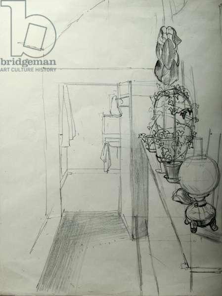 Corridor and Bathroom (pencil on paper)