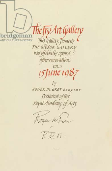 Fry Art Gallery Re-Opening Certificate, 1987 (pen & ink on paper)