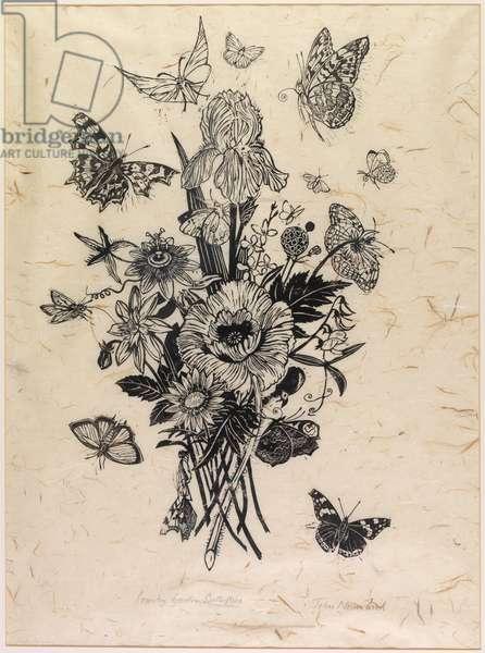 Country Garden Butterflies (woodcut)