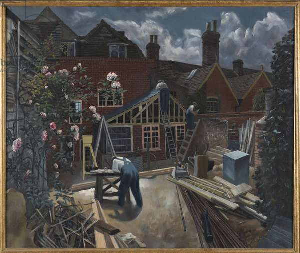 Builders at Work, Brick House, Great Bardfield, c.1946 (oil on canvas)