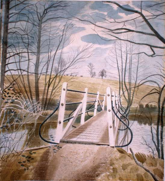 Iron Bridge at Ewenbridge, 1942 (w/c on paper)