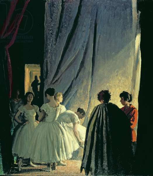 Behind the scenes - In the Coullises, 1921 (oil on board)