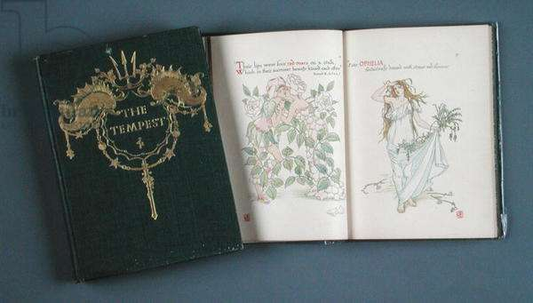 Cover of Shakespeare's 'The Tempest', published by P. Woodroffe 1908, and illustrations from 'Flowers from Shakespeare's Gardens' by Walter Crane (1845-1915) 1906