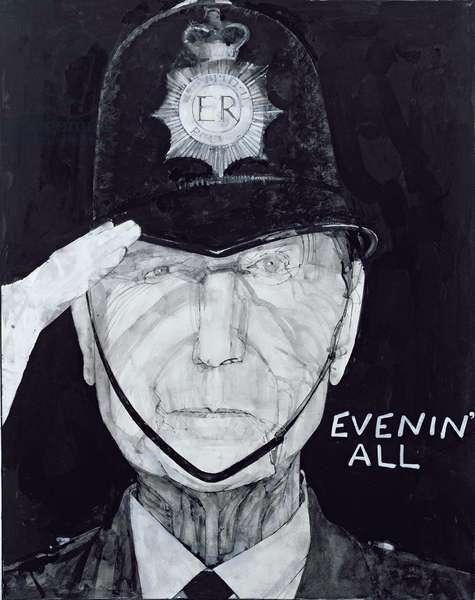 Portrait of Jack Warner as Dixon of Dock Green, illustration for 'The Listener', 1970s (gouache on board)