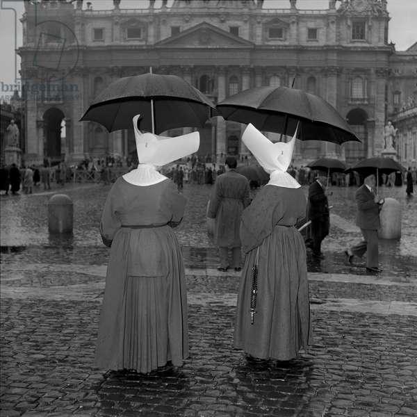 Two nuns awaiting the coronation of Pope John XXIII, Vatican City, 4th November 1958 (b/w photo)
