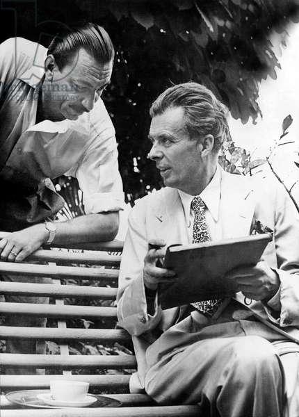 Aldous Huxley with Italian editor Arnoldo Mondadori in Siena, c.1947 (b/w photo)