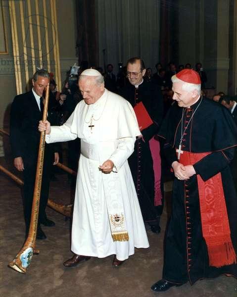 Pope John Paul II (1920-2005) with cardinal Joseph Ratzinger (future pope Benedict XVI) in Vatican in 1979