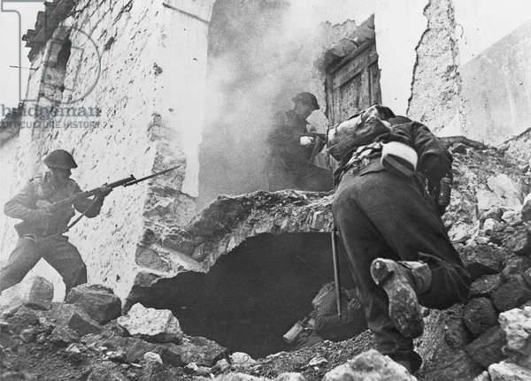 The Battle of Cassino, 24th March 1944 (b/w photo)