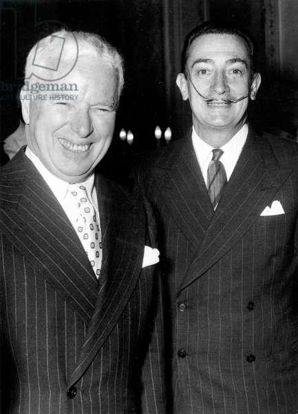 Chaplin and Dali 1954