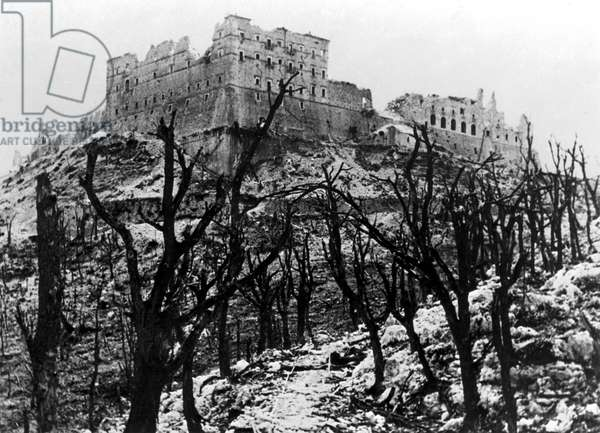 The Battle of Cassino: The Abbey of Monte Cassino reduced to rubble following the heavy Allied bombing of February, March 1944 (b/w photo)