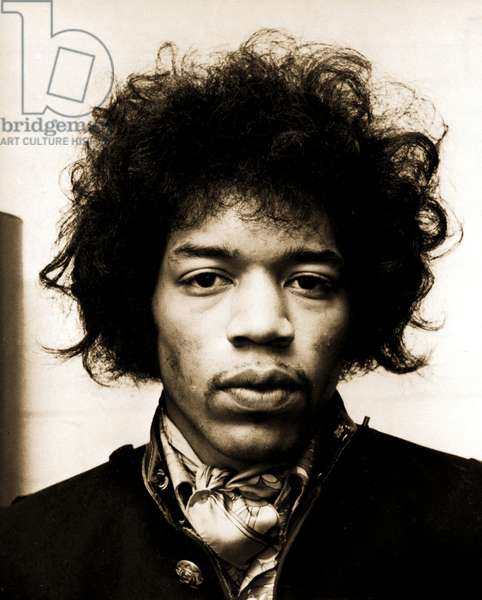 Jimi Hendrix, 1970 (b/w photo)