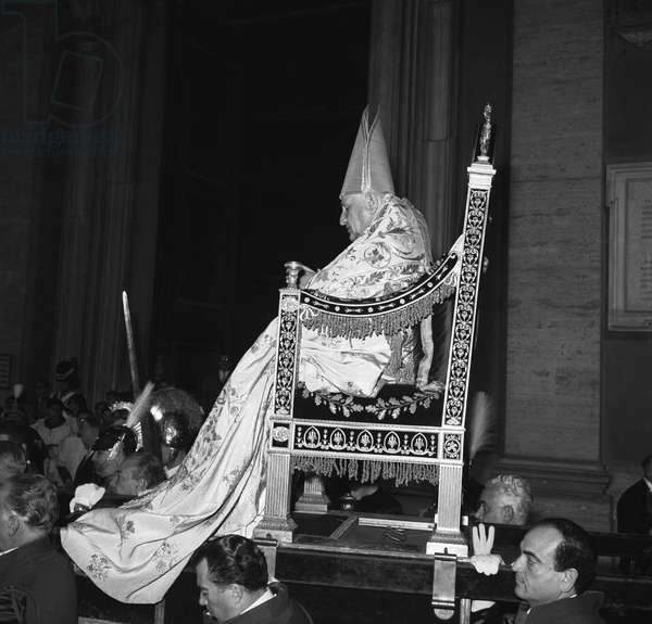 The Coronation of Pope John XXIII, St. Peter's Basilica, Vatican City, 4th November 1958 (b/w photo)