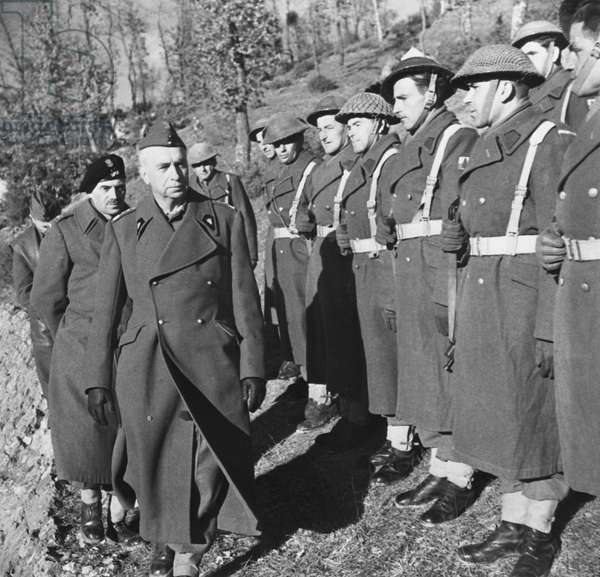 The Battle of Cassino: General Kazimierz Sosnkowski, Commander-in-Chief of the Polish forces, during a visit to the 2nd Polish Corps, commanded by General Wladyslaw Anders, 30th March 1944 (b/w photo)