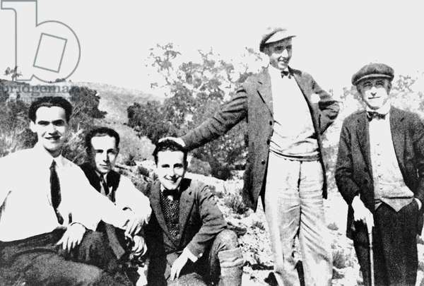 Federico Garcia Lorca with Rafael Aguado, Antonio Luna, Jose Segura and Manuel de Falla, 1931 (b/w photo)