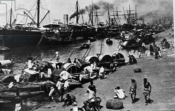 Daily Life at the Port of Calcutta (b/w photo)