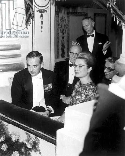 Prince Rainier, Princess Grace Kelly of Monaco, Prince de Polignac and the Greek shipowner Aristotle Onassis in a box for 'Poliuto', by Gaetano Donizetti, for the inauguration of the Opera Season at the Teatro Alla Scala, Milan, 7 December 1960 (b/w photo)