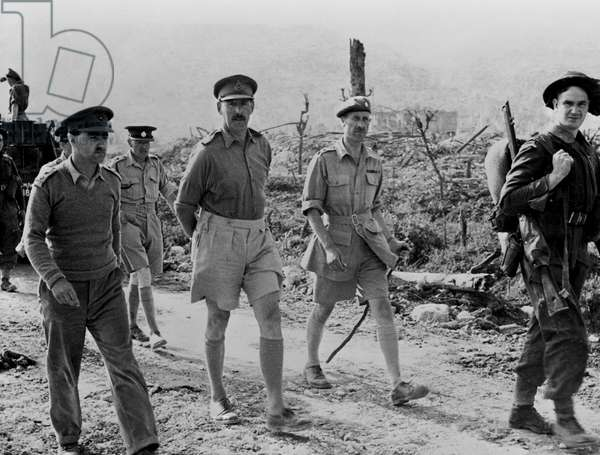 General Oliver Leese, Commander of the Eighth British Army, enters Cassino after quelling the German resistance, 18th May 1944 (b/w photo)