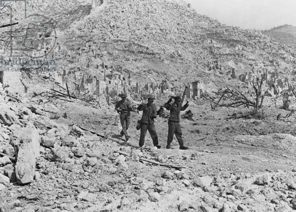 The Battle of Cassino: Two German soldiers captured in the ruins of the Abbey of Monte Cassino, 18th May 1944 (b/w photo)
