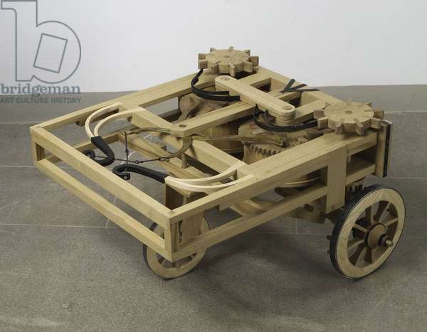 Reconstruction of da Vinci's design for an automobile (wood)