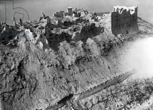 Scene from the Battle of Monte Cassino, 1944 (b/w photo)