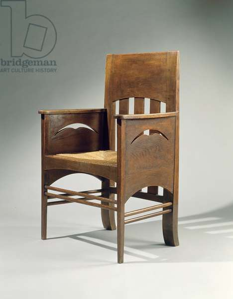 Armchair, designed in 1897 (oak with rush seat)