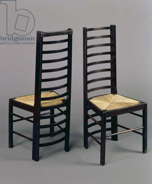 Ladderback chairs, c.1903 (stained oak)