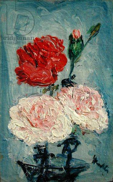 Carnations in a Glass Vase (oil on panel)