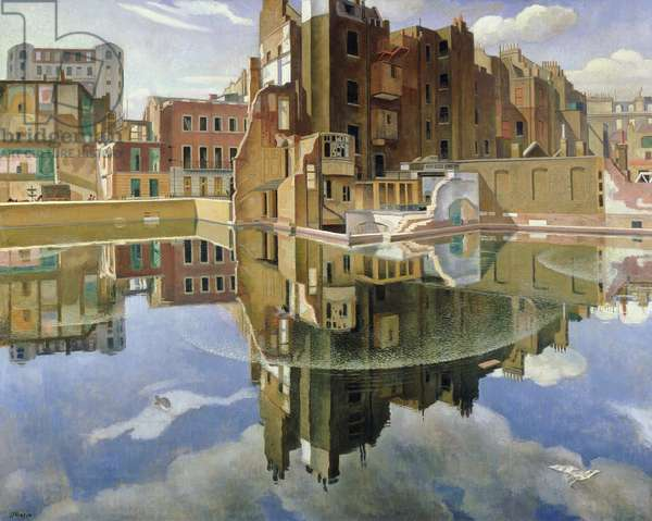 Static Water at Cumberland Place, London, c.1943 (oil on canvas)