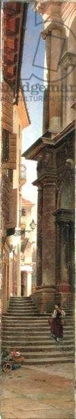 Village Steps (oil on canvas laid on panel)
