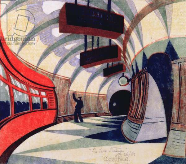 The Tube Train, c.1932 (linocut) (also see 151089)