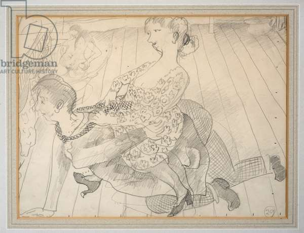 Giving the Servant Girl a Ride, 1929 (pencil on paper)