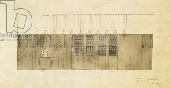 Design for a wall, table and doors, 1905 (w/c over pen & ink on paper)
