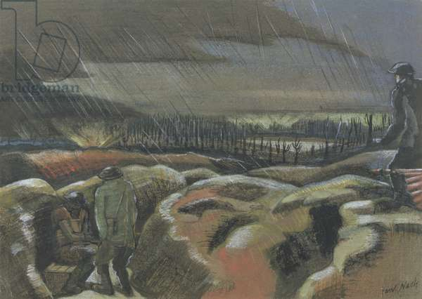 Shellburst, Zillebeke, 1917 (coloured chalks on brown paper)