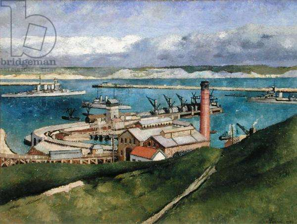 Portland Bill with HMS Tiger, 1932 (oil on canvas)