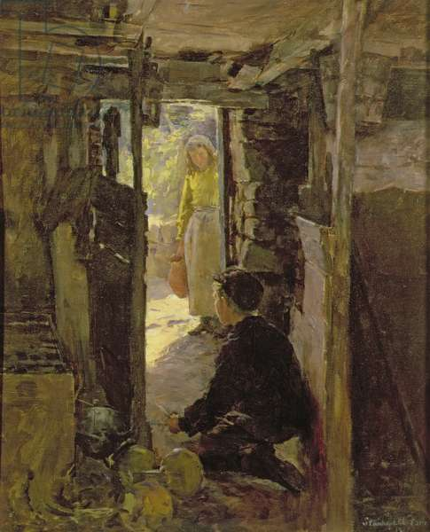 At the Cottage Door, 1901 (oil on canvas)