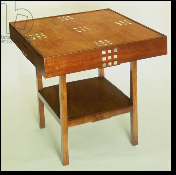 Table with mother of pearl inlay, 1918 (stained mahogany wood with mother of pearl inlay)