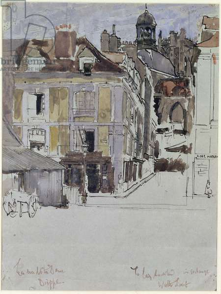 La Rue Notre Dame, Dieppe, with Quai Duquesne in the Foreground, c.1899 (w/c over pencil and ink on paper)