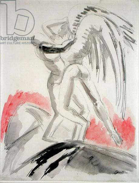 Jacob Wrestling with the Angel, c.1932 (pencil & w/c on paper)