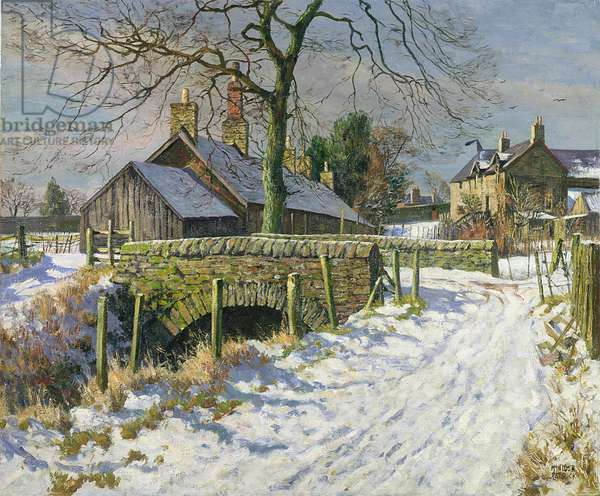 Sunshine and Snow, Benvie, Angus, c.1964 (oil on canvas)