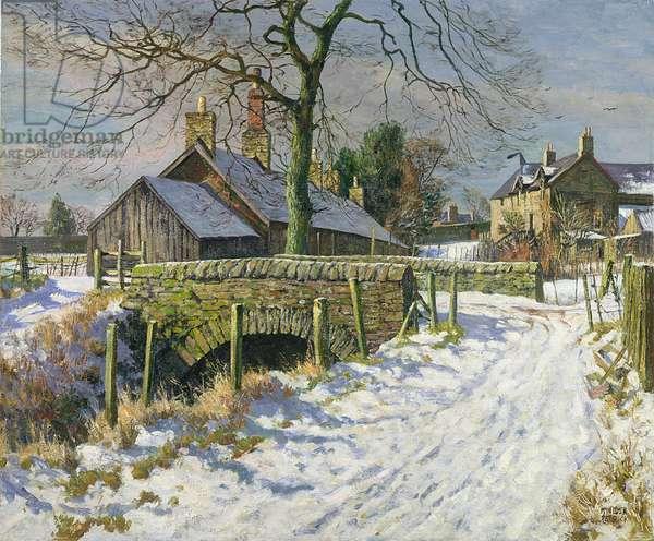 Sunshine and Snow, Benvie, Angus, c.1964 (oil on canvas)