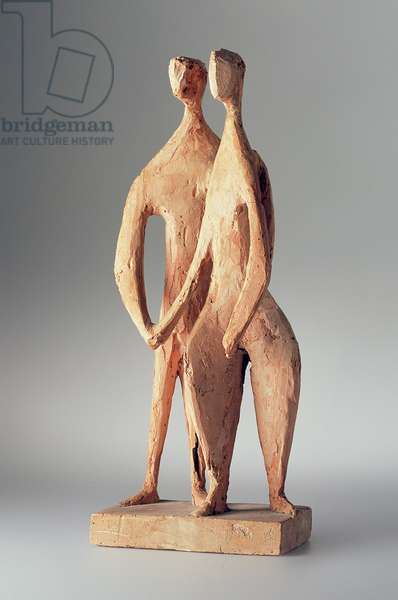 Linked Figures, c.1949 (terracotta maquette)