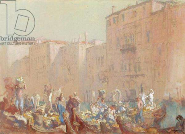 A Herb Market, Venice, c.1920 (w/c and bodycolour)