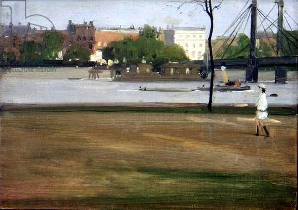 The Thames from Battersea Park, c.1915 (board)
