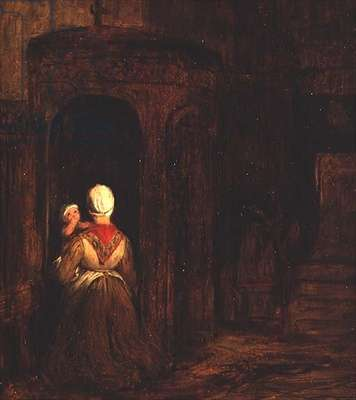 Woman with a Baby Kneeling at a Confessional