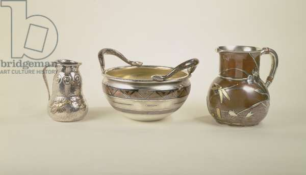 Left: water pitcher with pool scene; Centre: eight pint christening bowl; Right: jug of double gourd form, Tiffany and Co